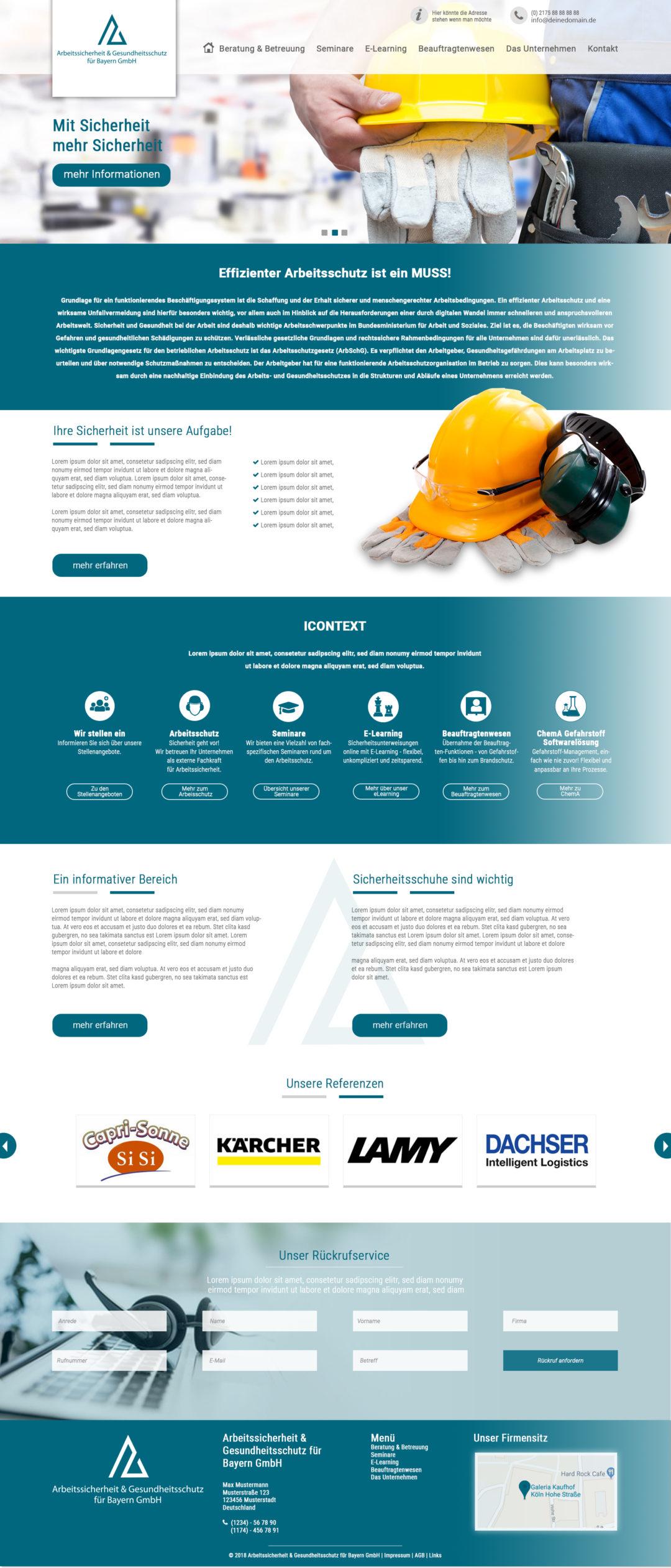 Arbeitsschutz Webdesign